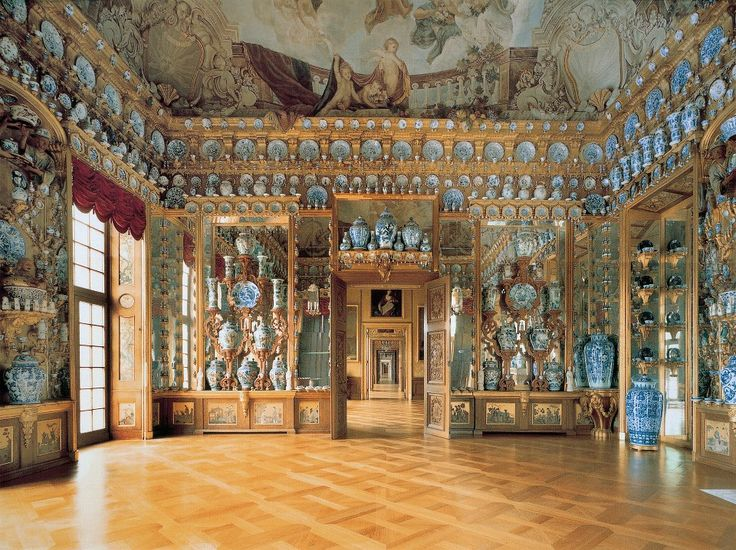 Charlottenburg Palace, Germany ~ Magnificent showcase for an important collection of blue and white porcelain.: