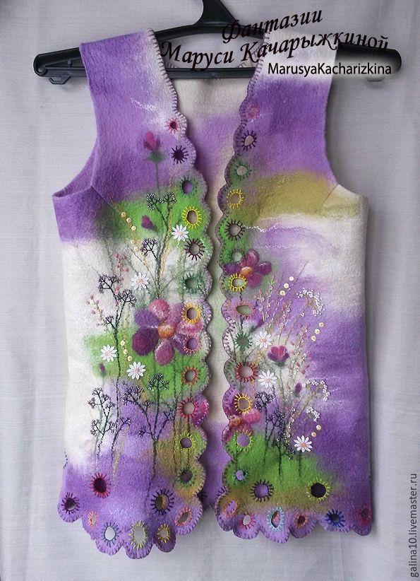 Купить жилет цветочный узор 44-46 - комбинированный, жилет валяный, жилет из шерсти