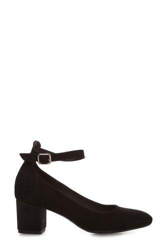 Pantofi negri cu bareta din piele intoarsa 1808-N -  Ama Fashion