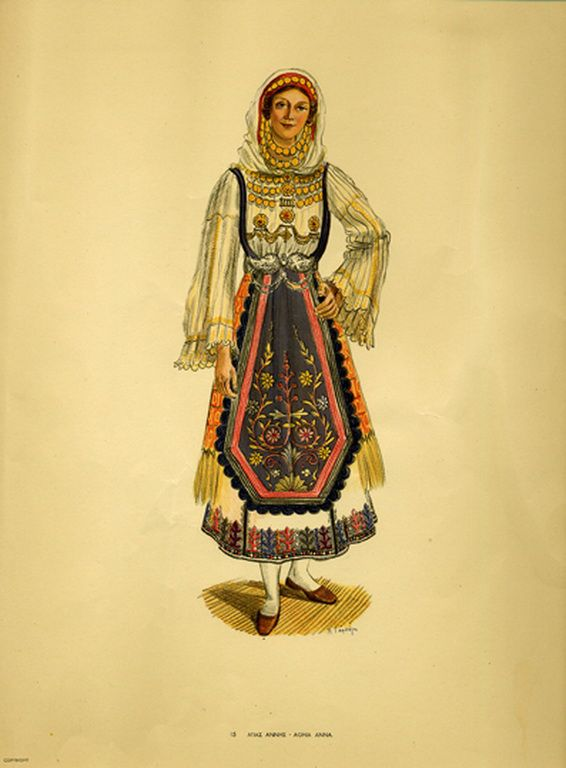 Φορεσιά Αγίας Άννης. Costume from Aghia Anna. Collection Peloponnesian Folklore Foundation, Nafplion. All rights reserved.
