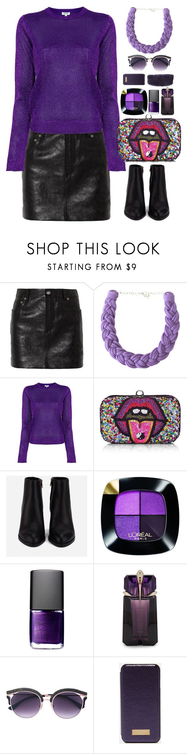 """""""Leather Skirt"""" by gicreazioni ❤ liked on Polyvore featuring Yves Saint Laurent, Kenzo, From St Xavier, Alexander Wang, L'Oréal Paris, NARS Cosmetics, Thierry Mugler, Ted Baker and The Fur Salon"""