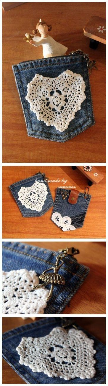 DIY Pouch, craft, upcycle, recycle, denim, cute idea, pretty, lace, heart, crafting idea