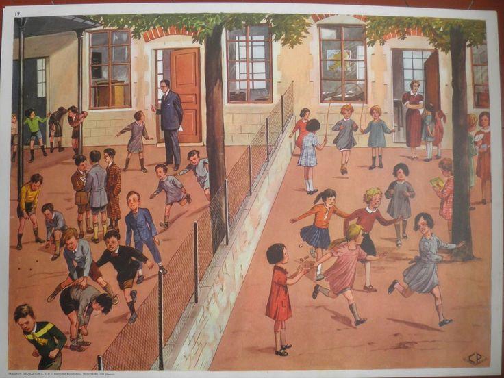 affiche scolaire Rossignol LA COUR D'ECOLE - L'HOTEL petits frais d'envoi | eBay