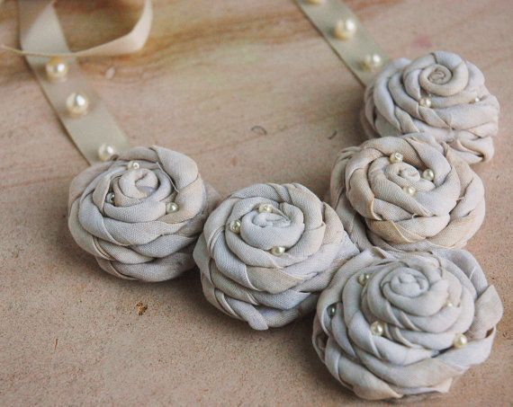 Statement Necklace Beige silk roses coffee stained by CamillaLimon, $35.00