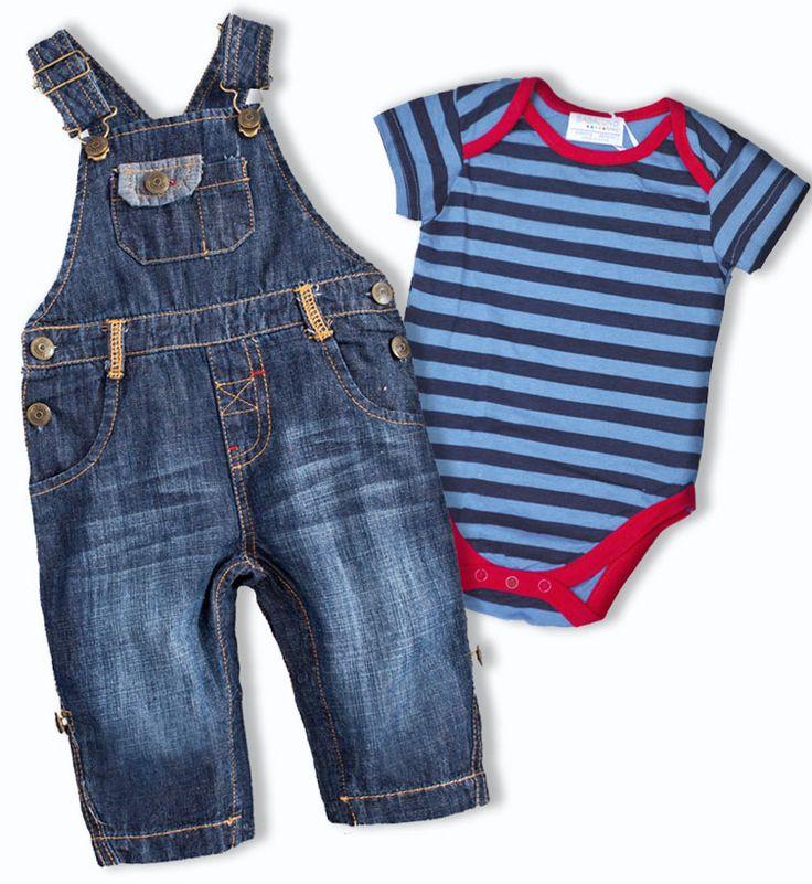 Modny zestaw #dla_dzieci. Jeansowe ogrodniczki z bodziakiem w paseczki. Babaluno