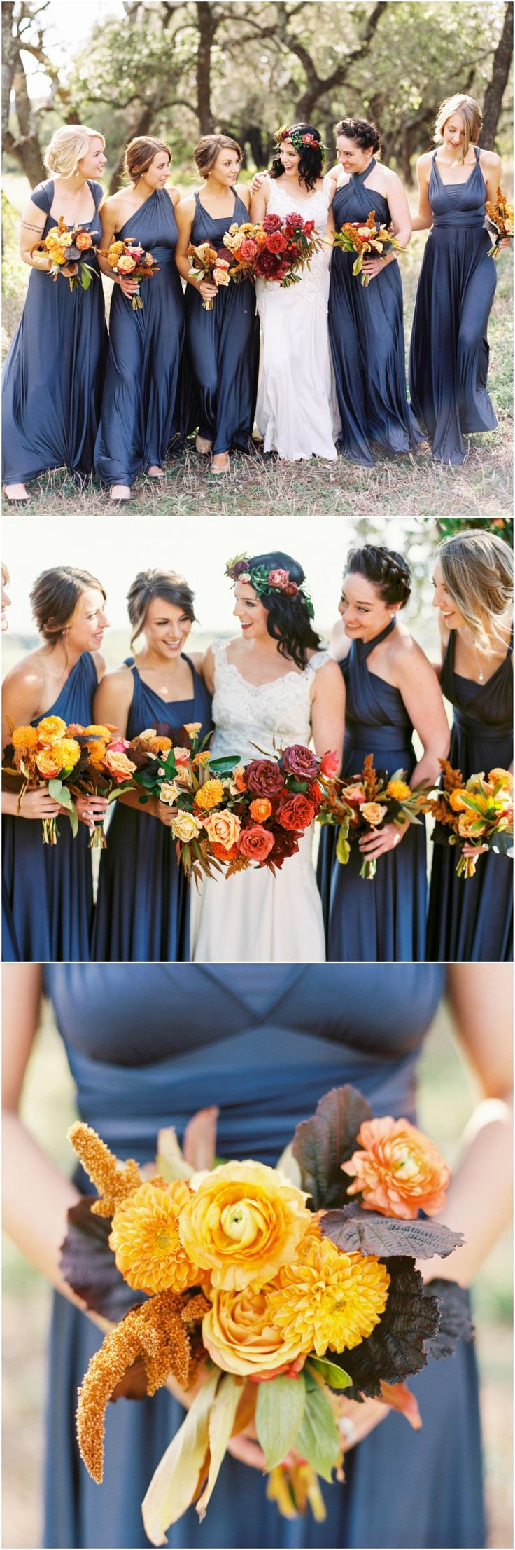 Fall wedding style, bridesmaid fashion, blue silk dress, mismatched necklines, autumnal bouquet, marigold & orange flowers, ranunculus & dahlias // Taylor Lord Photography