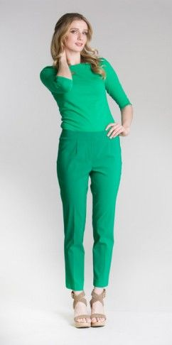 Ankle pants BCP1872DS available in emerald (pictured), black, navy, orange, sand, tomato and white