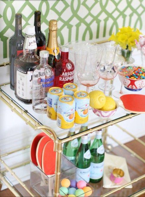 limonata, vintage bar cart, and imperial trellis wallpaper.