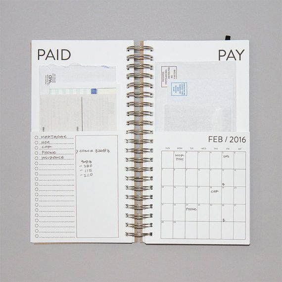 2016 Dated Bills Calendar por REDSTARink en Etsy