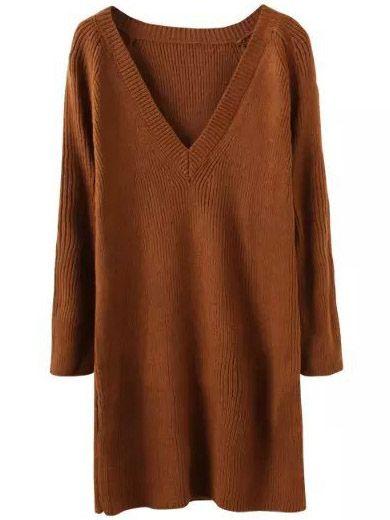 Khaki V Neck Long Sleeve Knit Sweater Dress  , 40% Off 1st Order
