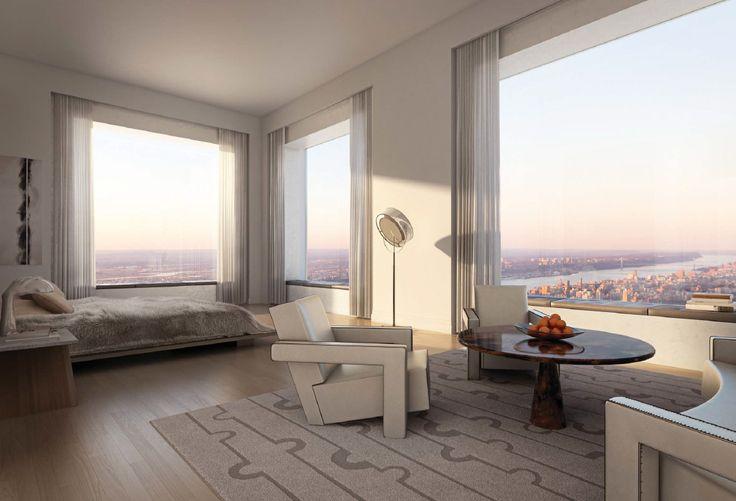 Luxury Condos: Master bedroom at the 432 park avenue manhattan. architect Raafel Vinoly