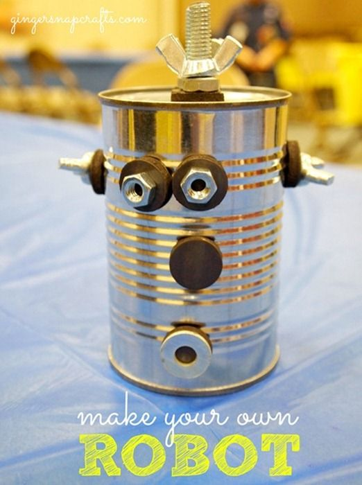Make your own robot w/tin cans, nuts & bolts, washers, magnets - this was a centerpiece for a banquet, but I'm thinking fine motor/science-magnet center!