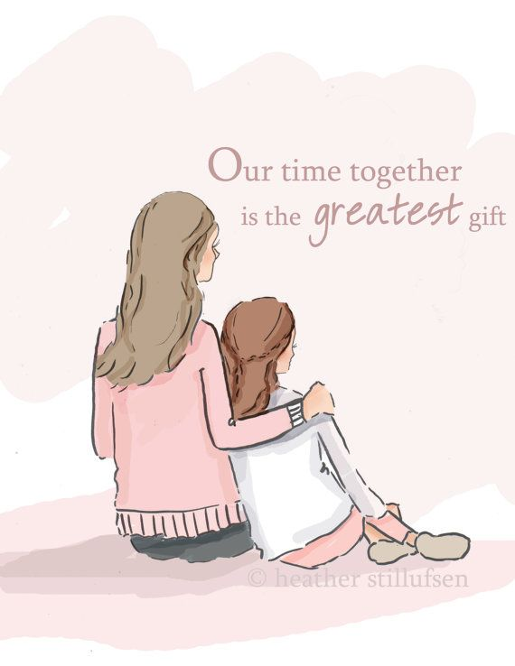 Time Together  Mother Daughter Art  Mom by RoseHillDesignStudio