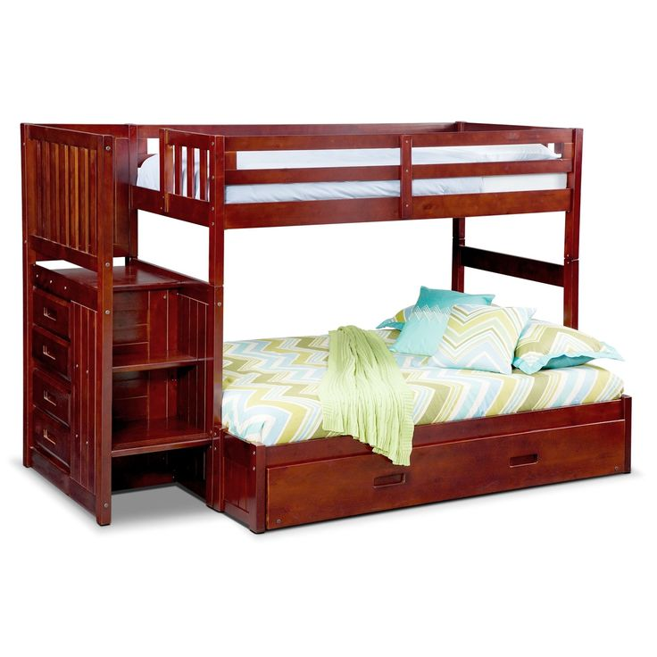 Ranger Twin Over Full Bunk Bed With Storage Stairs And Trundle - Merlot