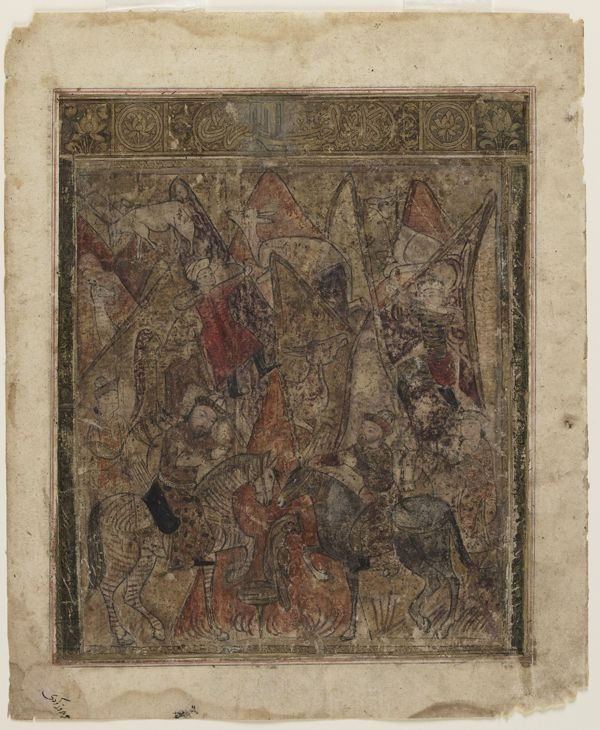 Arts of the Islamic World   Folio from a <i>Shahnama</i> (Book of kings) by Firdawsi (d.1020); recto: A hunt in the mountains; verso: text   S1986.113