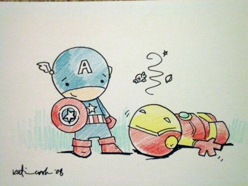 Cute Drawings Tumblr | Simple Cute Drawings Tumblr A cute, simple drawing of captain america and iron man