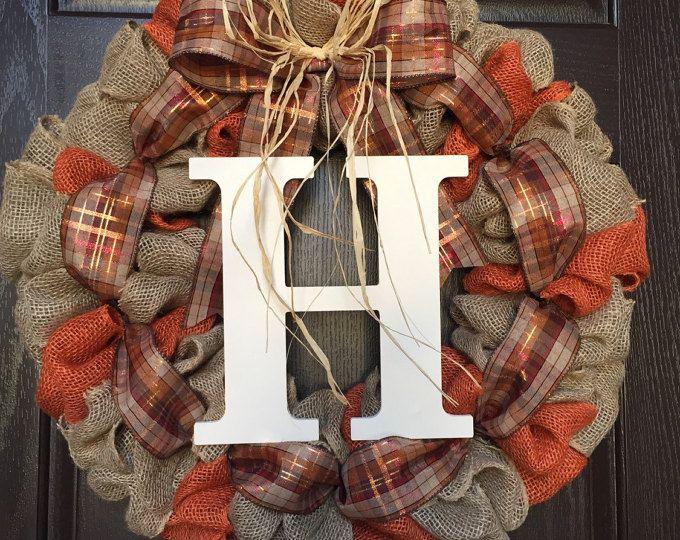 Fall Burlap Wreath, Autumn Burlap Wreath, Orange wreath, fall wreath, Monogram Wreath, Ranch wreath, Personalized Fall Wreath, Autumn wreath