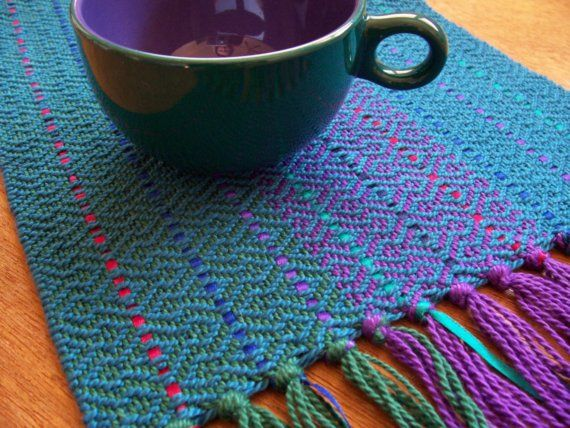 handwoven sapphire blue table runner  great color ideas