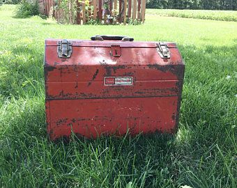 Large Rustic Red Sears Craftsman Tool Box Vintage A Frame Carry Toolbox Large  Industrial
