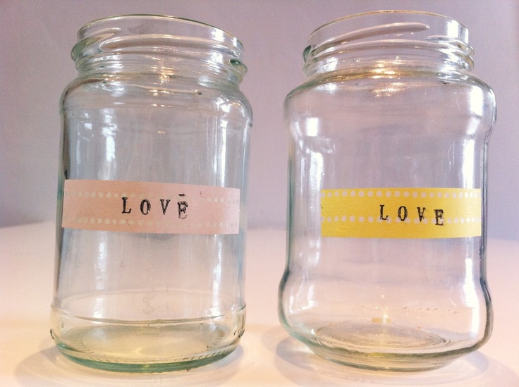 Great way to recycle jam jars and make them pretty!