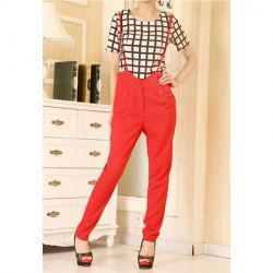 $11.82 Graceful High Waist Solid Color Cheap Overalls Pants For Women