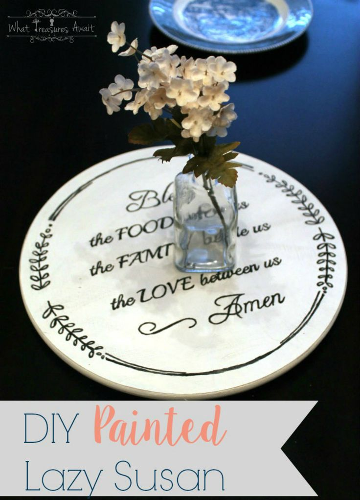 Easy tutorial for turning a boring lazy susan into customized decor- Printable included for this painted lazy susan