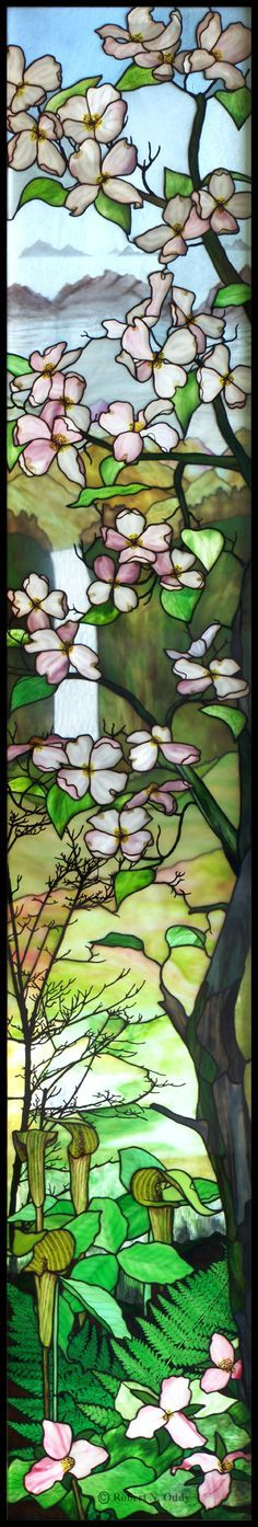 Amazing stained glass window by Robert Oddy - dogwood, jack in the pulpit, trillium, waterfall, landscape