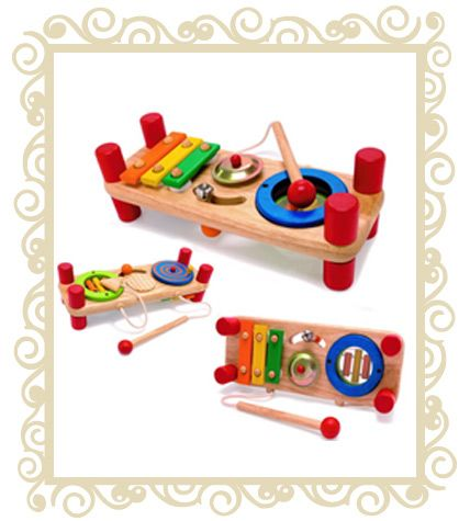 http://www.buttonbaby.com.au/tutti-tune-wooden-p-680.html - I'm Tutti Tune Wooden Toy. An activity toy features 7 music instruments in 1 product : a drum, an alto xylophone, a basso xylophone, a wood scratch guitar, a cymbal, a bell, and a disc scratcher. Produced from sustainable rubber wood and finished with non toxic child safe paints and lacquers. (19 Mths)