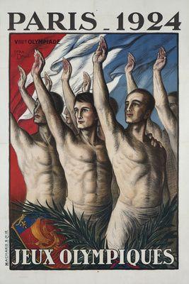 Paris 1924 - Jeux Olympiques Vintage Poster (artist: Droit) France