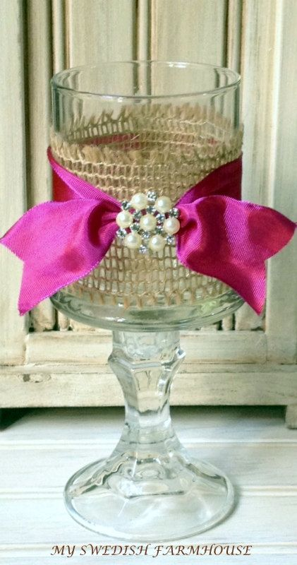 Candle Votive Table Centerpiece Rustic Shabby Chic Wedding Decor         (Your CHOICE of RIBBON COLOR). $10.95, via Etsy.