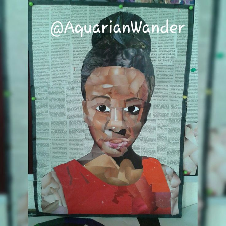 Seld-portrait - Done with magazine clippings of different skin conplexions - A2 - Done in 2014