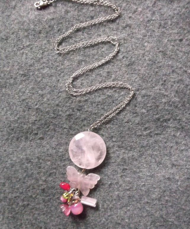 50% off Today Only Rose Quartz Butterfly Long Necklace £120.00