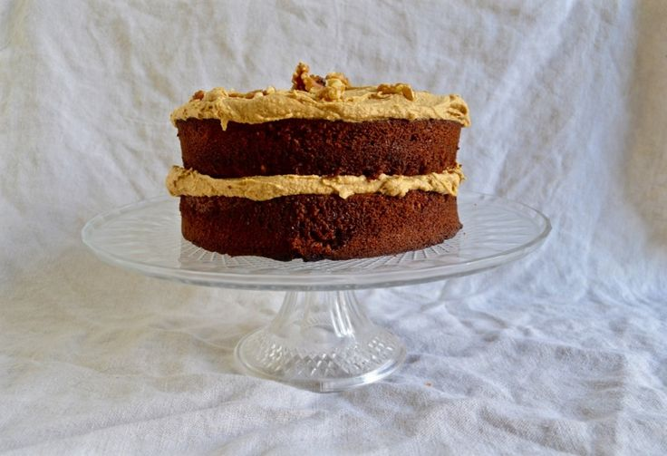 Walnut Cake with Coffee Toffee Icing