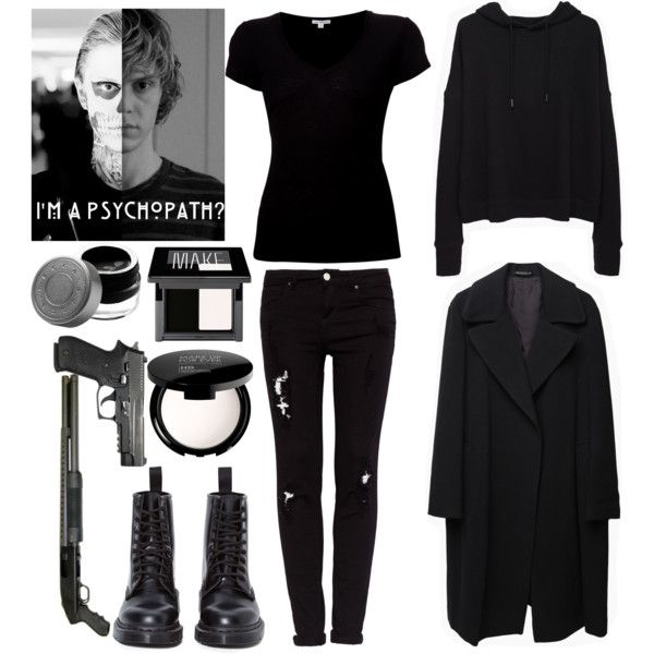 American Horror Story: Tate Langdon by naruko-uzumaki on Polyvore featuring moda, rag & bone/JEAN, James Perse, Yohji Yamamoto, Pull&Bear, Dr. Martens, MAKE UP FOR EVER, Make and Becca