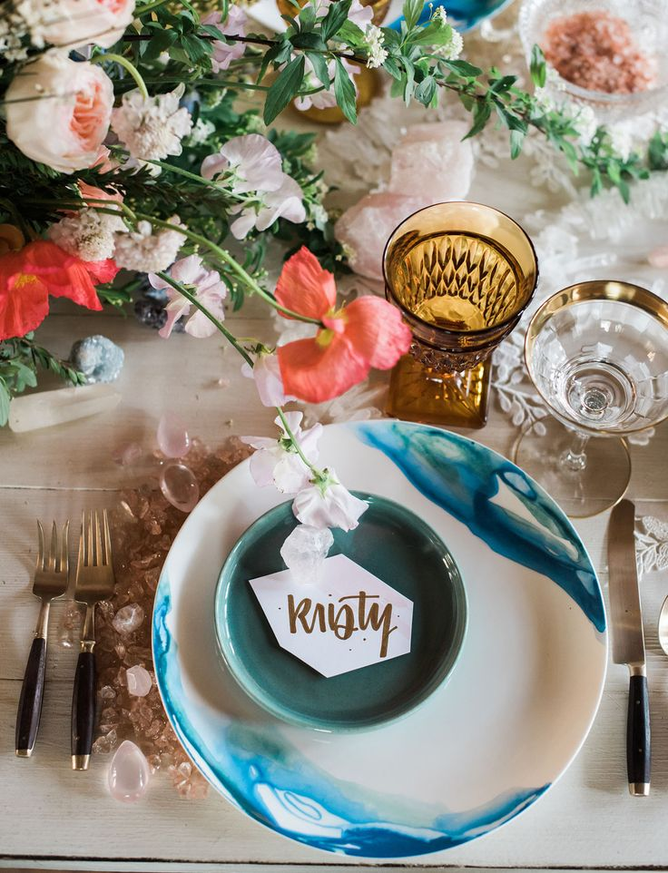 Boho Love Story Inspiration // blue watercolor dish colorful tablescape