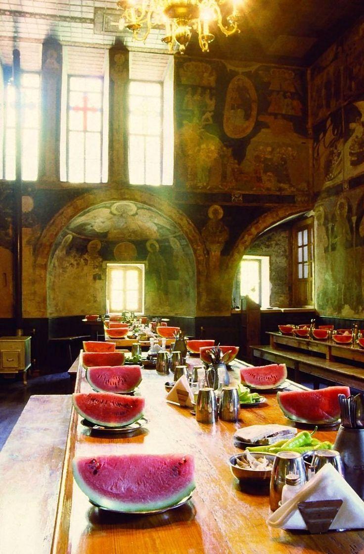 The refectory of Hilandar Monastery, Mount Athos, Greece