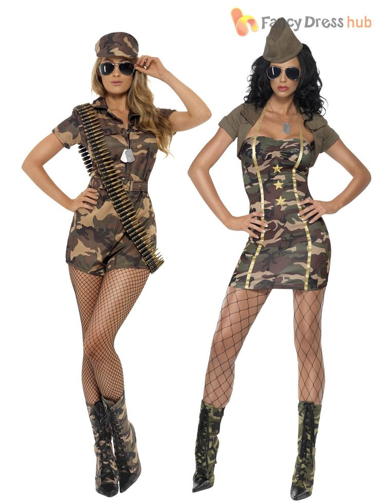 Ladies Army Girl Fancy Dress Costume Womens Military Soldier Camo Uniform Outfit | eBay