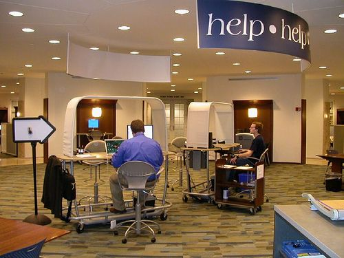 Our It And Library Help Desks Are Already Getting Questions On Second Day Of Business At The Hub Wt S