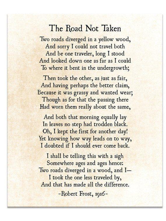Road Not Taken Poem Robert Frost Poem Poetry Art Print