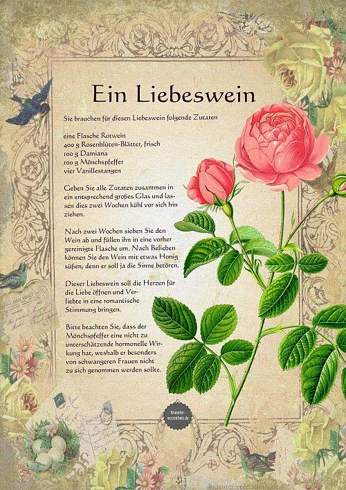 eine Flasche Rotwein  400 g Rosenblüten-Blätter, frisch  100 g Damiana  100 g Mönchspfeffe /=drnek/  vier Vanillestangen