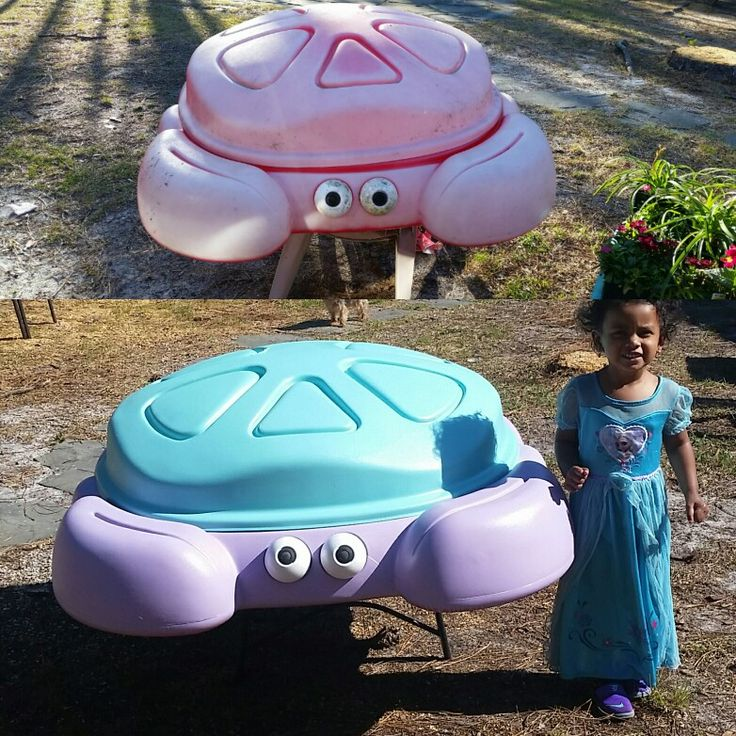Before & After free Crab Sandbox + spray paint $16= total cost  $16