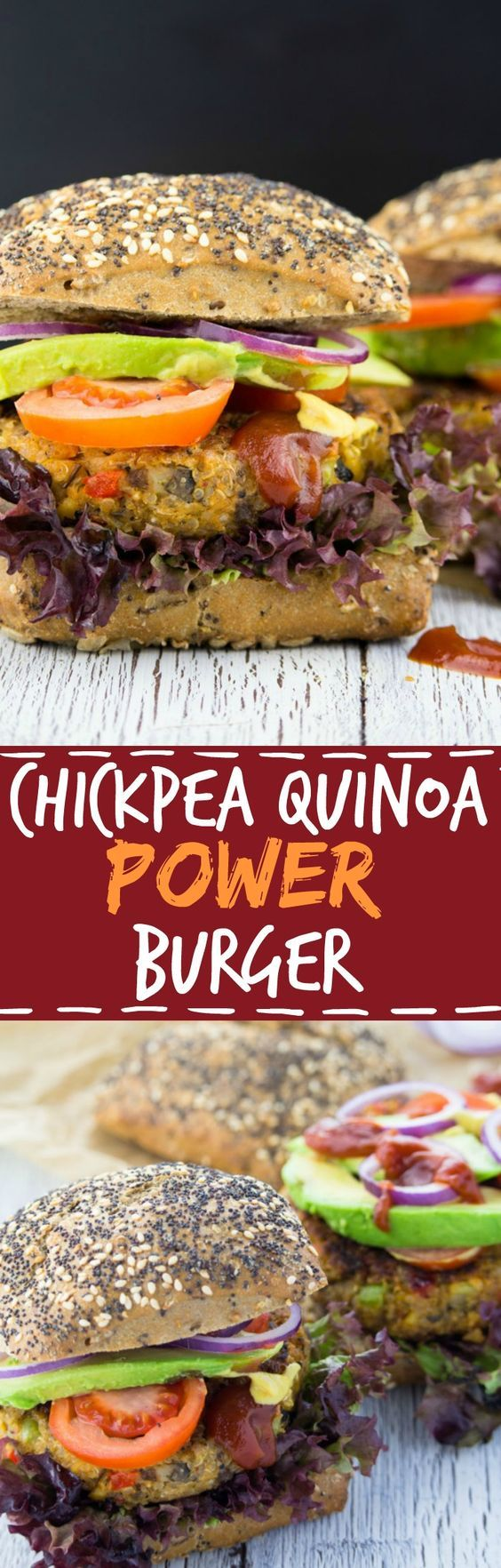 These vegan chickpea quinoa power burgers are packed with protein, veggies, and flavor! Vegan fast food at its best! #vegan #burger #quinoa #healthy #quinoaburger #recipes #veganfood