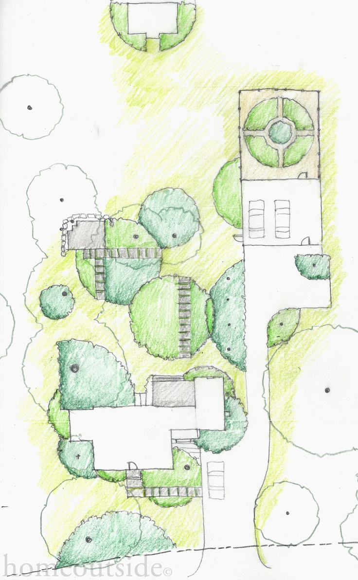 """""""Playful Circles"""" scheme for Western MA project overlaps negative and positive spaces; Landscape Design Service, personalized & completely online"""
