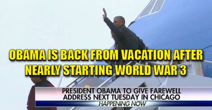 Obama returned from his Christmas vacation in Hawaii. While he was there, he nearly started World War 3 with Russia over accusations that the election was hacked and rigged for Trump. As of now, there's no evidence to back up the claims that Russia interfered in the election in order to help Donald Trump win. However, that has not stopped the left or the mainstream media from pushing the narrative. Many believe they're doing this in order to cast a shadow of doubt over Trump's presidency…