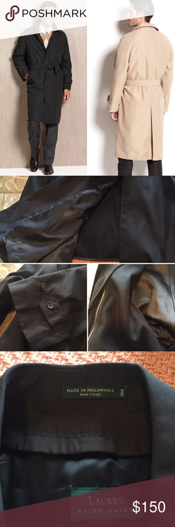 "Men's Ralph Lauren Dress Raincoat This raincoat is like new! My husband has maybe worn it twice. Retails for $450 at Macy's.   Actual coat is black, cover photo is exact coat pictured in black and khaki.   Has pockets, a removable quilted liner, and comes with a belt. Size 46R, 45"" in length. Comes right at, or a little past the knees.   Brand: Ralph Lauren Name: Sidney Shell: 100% Polyester Lower: 50% Wool - 50% Polyester  ✅reasonable offers ❌trades 💬ask questions 🛍bundle to save…"