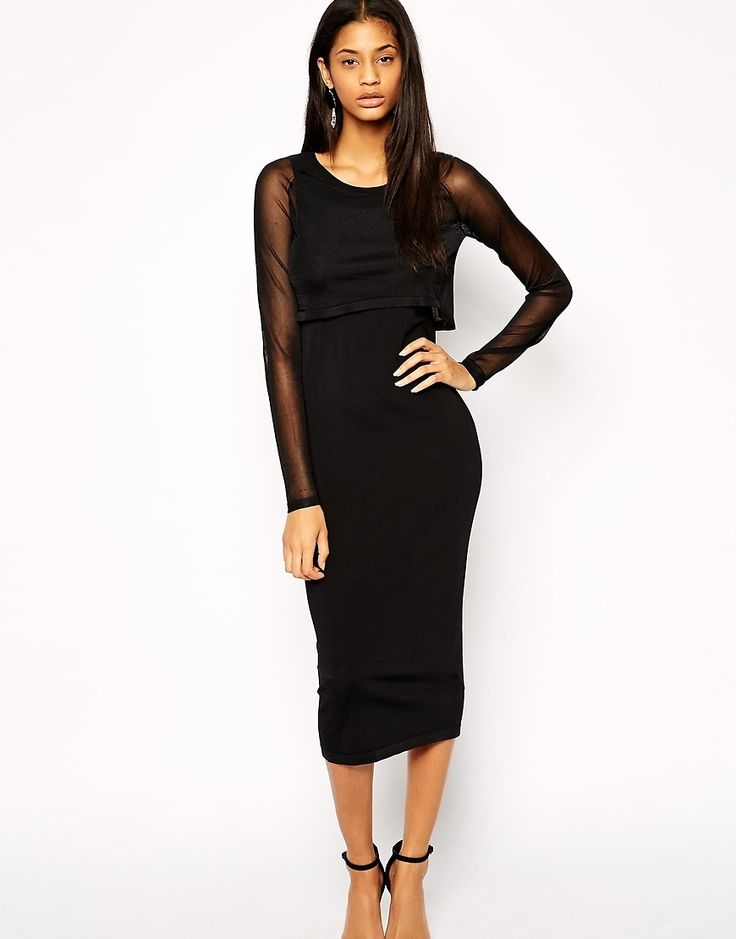 ASOS Midi Dress In Knit With Sheer Overlay