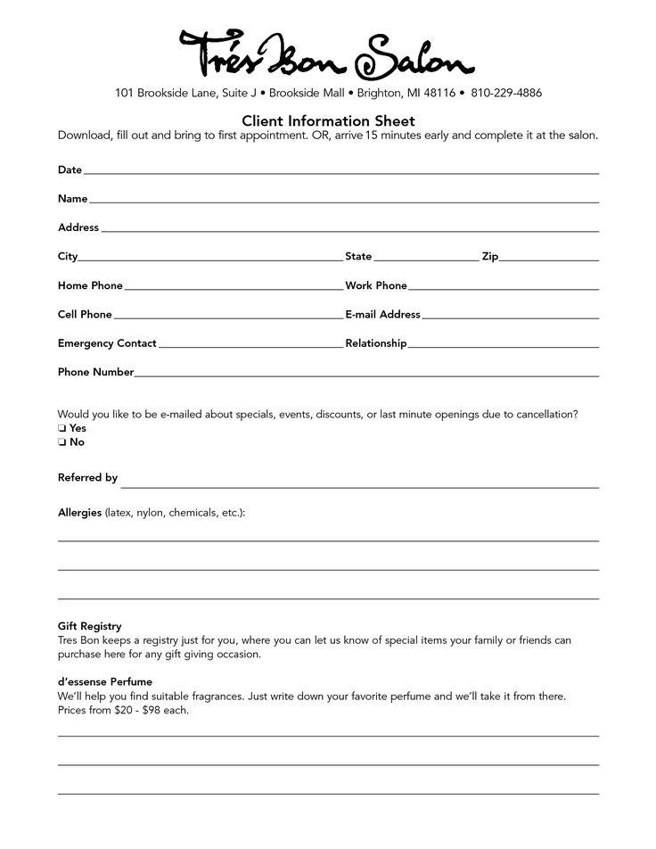 Hair Salon Client Information Sheet Template Hair salon