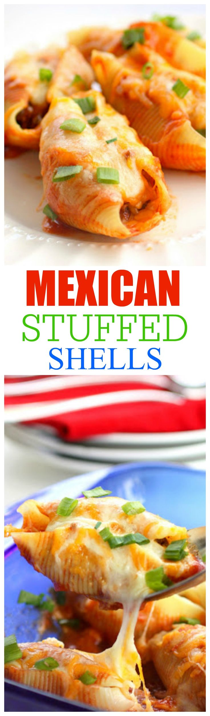 Mexican Stuffed Shells - so easy and such a good Mexican meal! the-girl-who-ate-everything.com