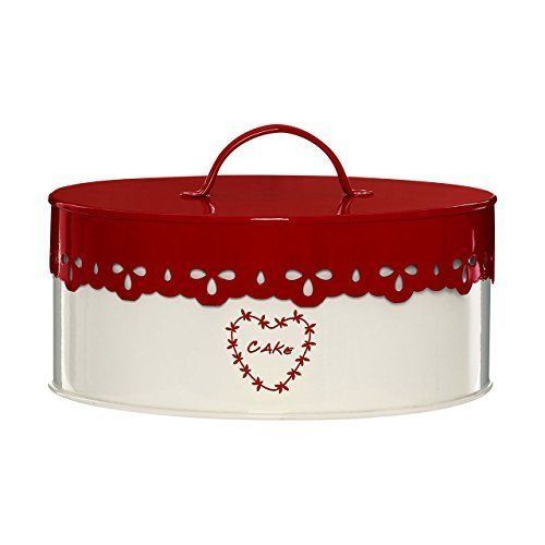 Round Cake Container Kitchen Storage Food Cookies Tin Metal Red Canister Gift