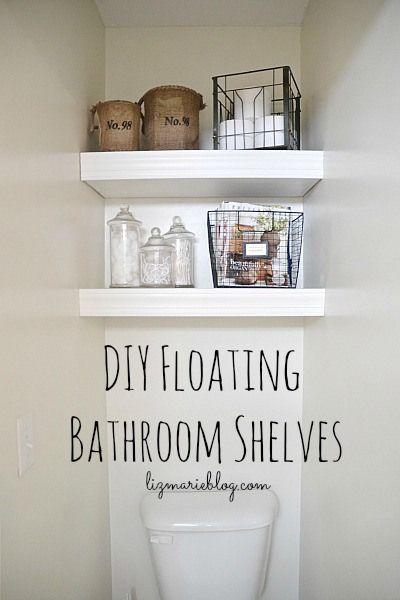 DIY Floating Bathroom Shelves - lizmarieblog.com